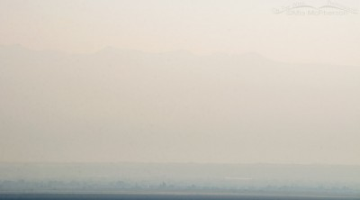 Smokey sky looking towards the Wasatch Range from Antelope Island, August 21, 2016