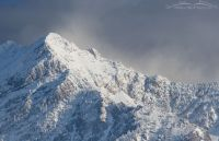 Winter view of Broad's Fork Twin Peaks from the valley