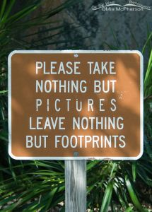 Please take nothing but pictures leave nothing but footprints
