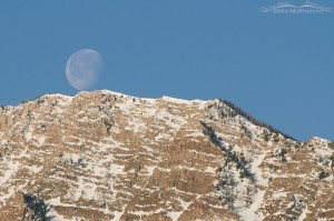 Stansbury Mountains with the moon setting
