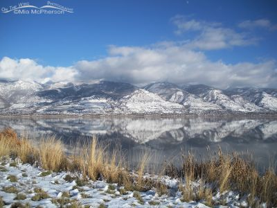 Snow covered Wasatch Range view from Farmington Bay