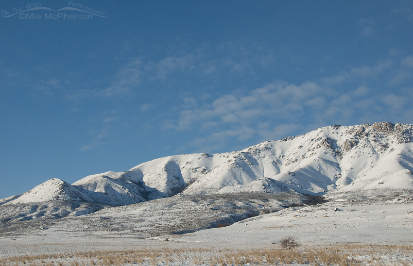 A snowy view of Antelope Island State Park's mountains