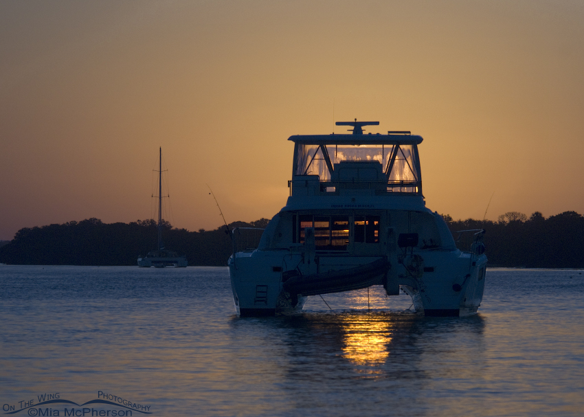 Sunrise through a pontoon boat at the north Beach of Fort De Soto