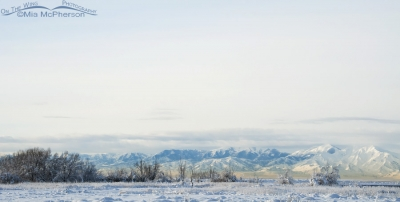 Snow covered Farmington Bay and the Oquirrh Mountains