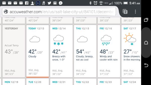 Upcoming weather forecast