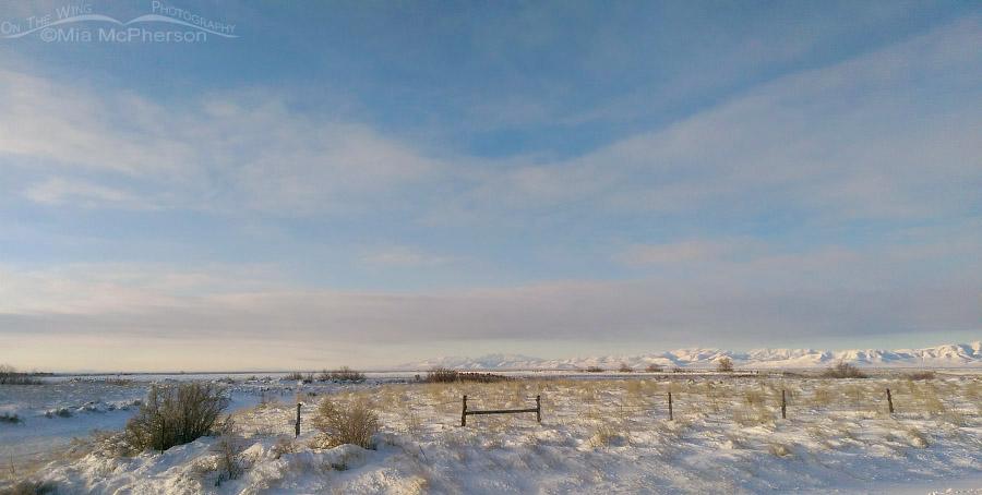 Frigid winter scenery in Box Elder County, Utah