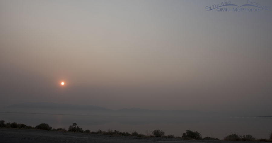 Smoky haze over the Great Salt Lake and Wasatch Mountains