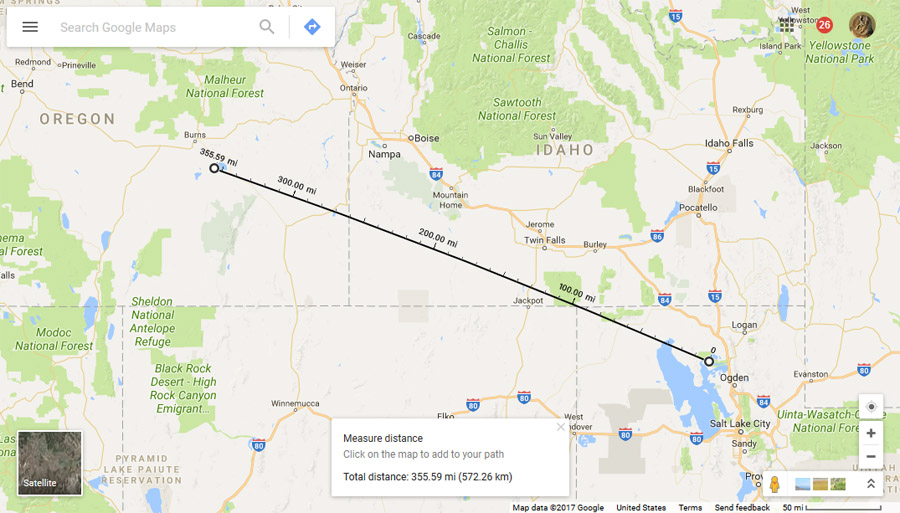 Map showing distance between Malheur NWR and Bear River MBR