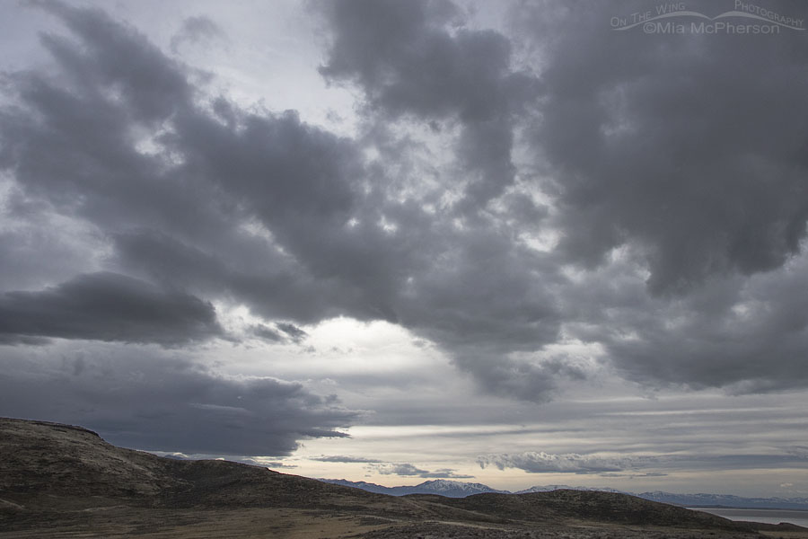 Cloudy skies over Box Elder County and the Great Salt Lake